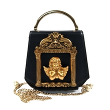 Ретро барокко Ангел тисненый дизайн кожаные сумки женские сумки кошелек Жемчужные Цепочки Сумка через плечо дамская сумка через плечо из искусственной кожи