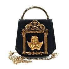 Retro barok anioł tłoczone projekt skórzane torby damskie torebki torebka Pearl łańcuchy torba listonoszka na ramię panie pu na długim pasku torba