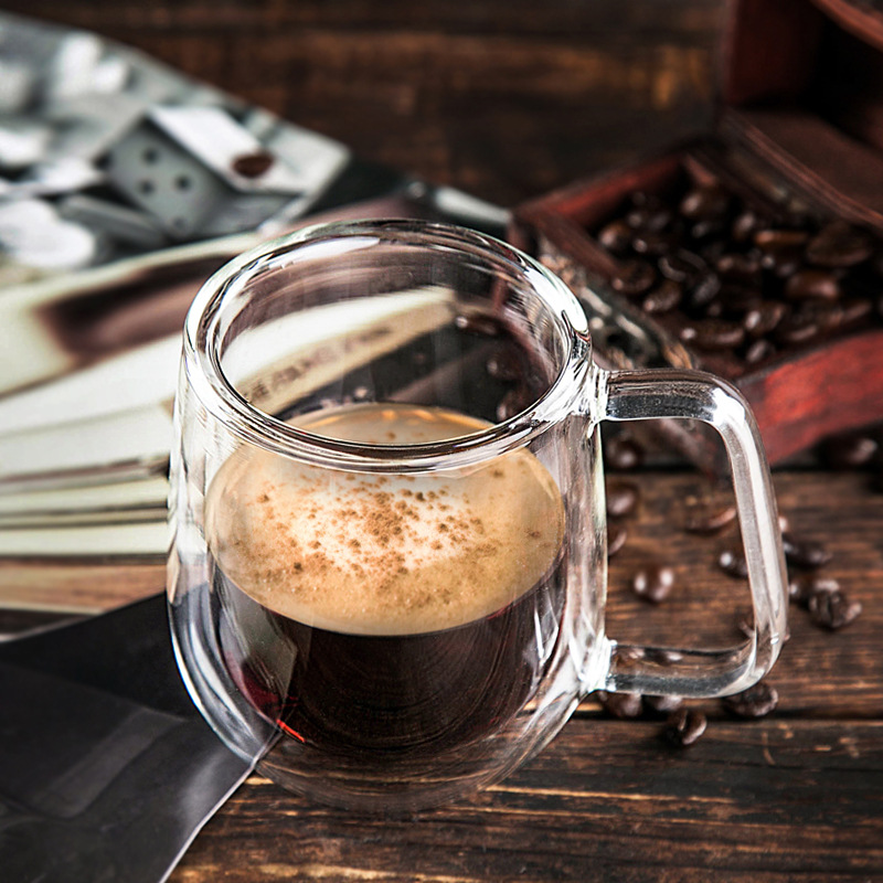 2019 Sell Well Double Wall Glass Cup Juice Beer Drinking Glass Cups and Mugs Tumbler Coffee Cup Covered Milk Cup Spoon in Mugs from Home Garden