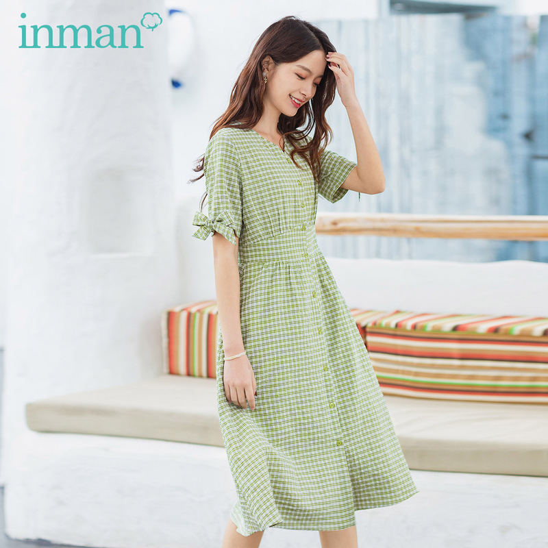 INAMN Summer New Arrival French V Collar Vintage Plaid Bow Tie Sweet Elegant Dress