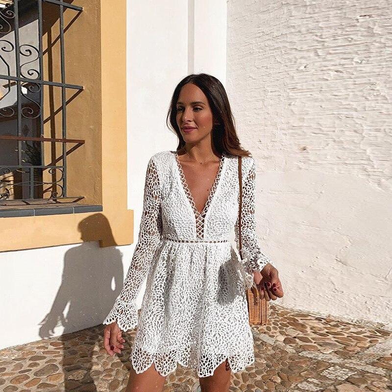 Linglewei New Spring and Summer Women's Dress sexy deep V long sleeve hollow dress