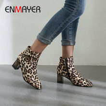 ENMAYER 2019 Winter Boots Women Basic Square Heel Round Toe Faux Suede Slim  Animal Prints Size 34-43