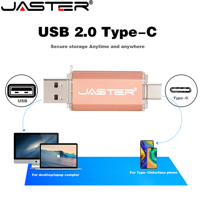Usb 2.0 & Type-C Jaster Usb flash drive for SmartPhone/Tablet/PC 4GB 8GB 16GB 32GB 64GB Pendrive High speed Plastic WaterProof
