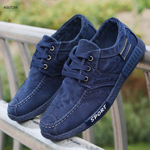 Men Canvas shoes 2019 New Comfortable Breathable lace up Shoes Casual Male Flat Loafers blue z316