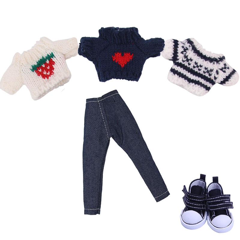 Blyth Doll Clothes Set=Sweater+Jeans,5 Cm Canvas Shoes For Blyth BJD 30 Cm 1/6 Doll Our Generation Birthday Girl's Toy Gifts