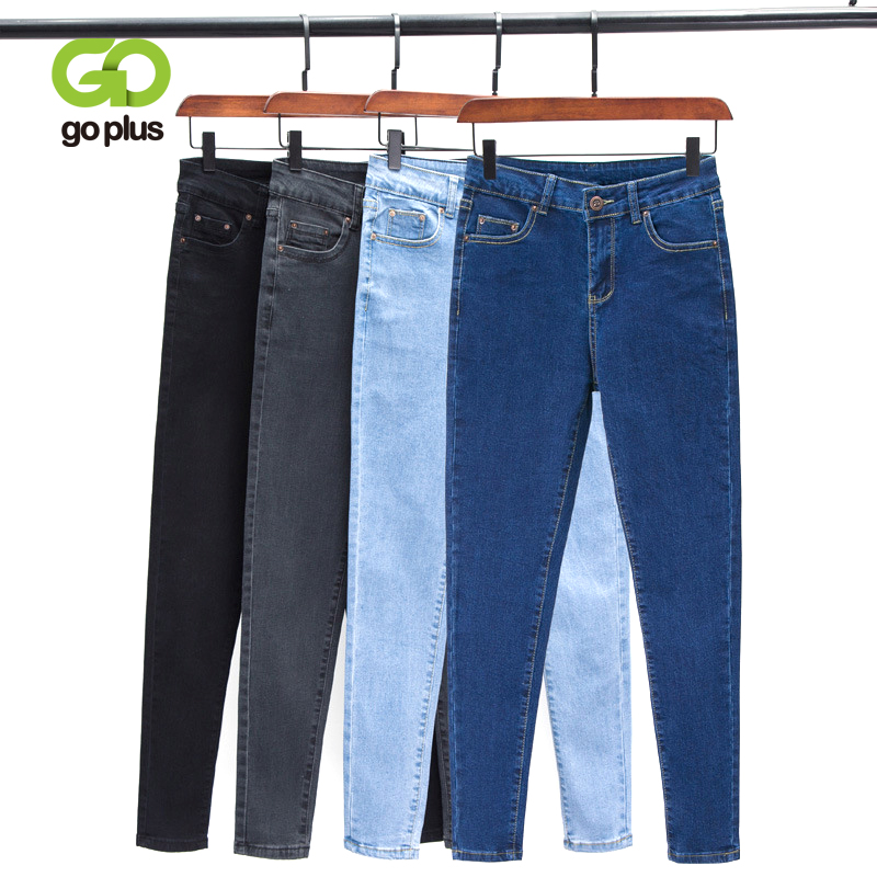 GOPLUS Korean Style Women Jeans Large Size Black High Waist Skinny Jeans Woman Plus Size Jeans Pencil Pants Vaqueros Mujer C9572