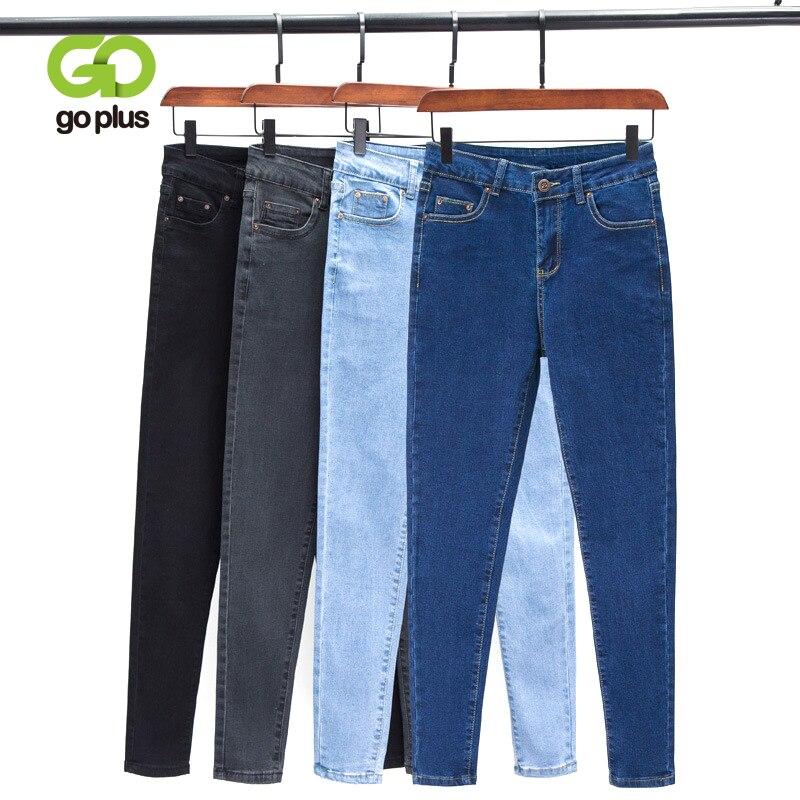 GOPLUS Korean Style Women Jeans Large Size Black High Waist Skinny Jeans Woman Plus Size Jeans Pencil Pants Vaqueros Mujer C9572