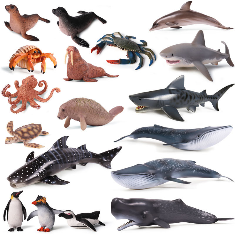 Simulation Solid Ocean Sea Life Animal Model Shark Whale Octopus Dolphin Action Toy Figures Kids Educational Collection Gift