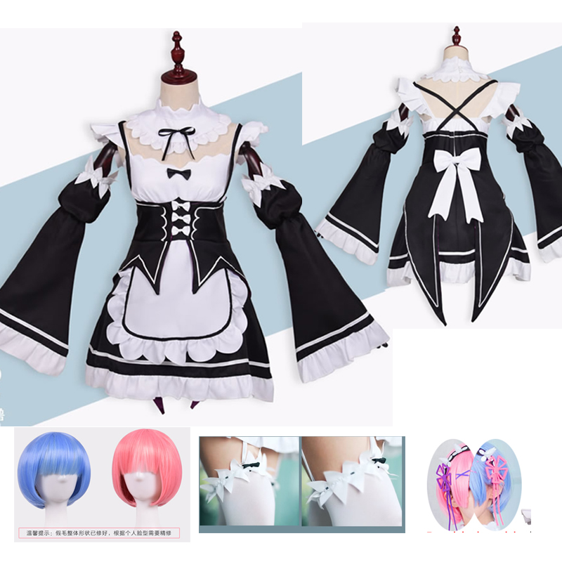 Anime Re:zero Kara Ram Rem Cosplay Costume Cosplay Anime Wig  Halloween Costume Maid Dress Anime Cosplay Plus Size  Clothing