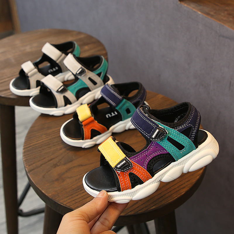 2021 Baby Summer Sandals 1-6 Years Boys Girls Shoes Soft Sole Toddler Beach Shoes Kids Leather Sandals Boys Casual Shoes 21-30
