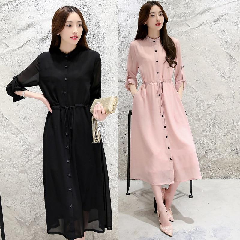 Yi Uncommon Chiffon Mid-length Slim Fit Long Sleeve Chiffon Muslim Fashion Dress Shirt Long Skirts Women's-