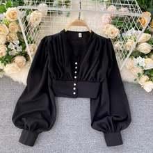 Женская блузка с v образным вырезом однобортная приталенная