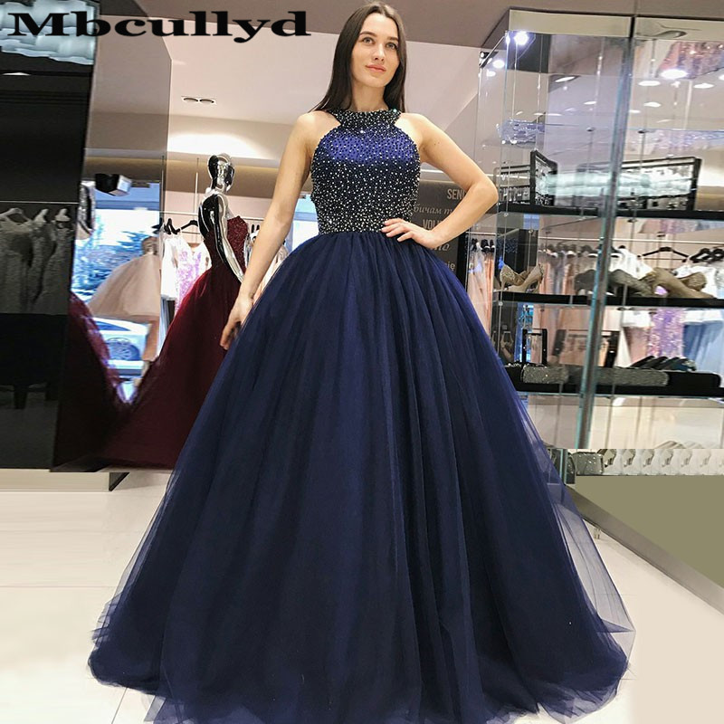 Mbcullyd Puffy Tulle Ball Gown   Prom     Dresses   Long 2019 Glitter Beading Evening   Dress   For Women Navy Blue vestidos de fiesta