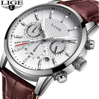 LIGE-ساعات رجالية ، كرونوغراف كوارتز ، مقاومة للماء ، عسكرية ، جلد طبيعي ، ذكر