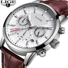 LIGE – Montre de sport en cuir véritable pour homme, marque de luxe, chronographe à Quartz, style militaire