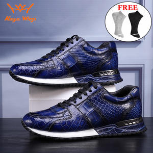 Shoes Skin-Sneakers Crocodile Handmade Green-Colours Luxury High-End Sport for Men Blue