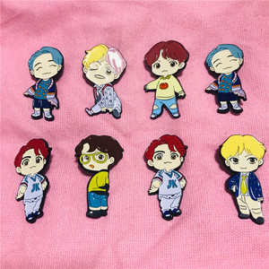 1 Pcs Kpop Bangtan Boys JK V SUGA RM JIMIN JIN J-HOPE Pop-up House of Bangtan Boys MD Character Metal Badge Doll Metal Brooch