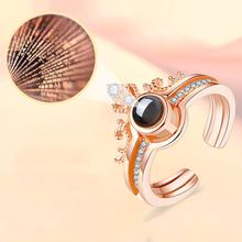 Różowe złoto kolor 100 języków kocham cię pierścień projekcyjny oddzielny pierścionek w kształcie korony romantyczne wspomnienie miłości obrączki biżuteria prezent tanie tanio HANCHENG Miedziane MIŁOŚNICY Metal Śliczne Romantyczne Zestawy ślubne ROUND Zgodna ze wszystkimi Rejestrator aktywności fizycznej
