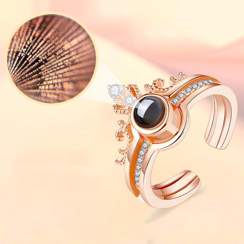 Кольцо из розового золота с проекцией «Я люблю тебя» на 100 языках, разделяемое кольцо с короной, воспоминания о романтической любви, обручал...