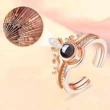 Cor de ouro rosa 100 idiomas eu te amo anel de projeção anel de coroa separável romântico amor memória anéis de casamento jóias presente