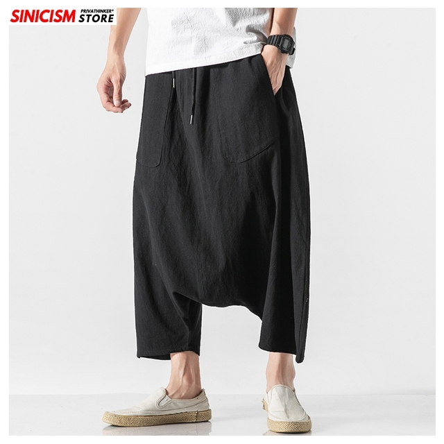 Sinicism Store Men Solid Summer Cross Pants Mens 2020 Japanese Wide Leg Trousers Male Linen Chinese Style Pants Clothing 5XL 16