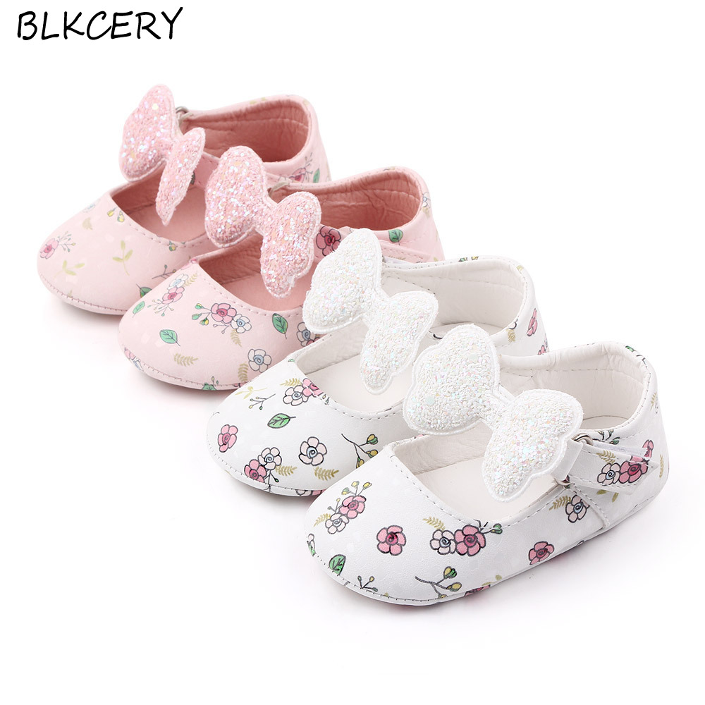 Baby Girls Crib Shoes Newborn Footwear Toddler Bling Bow Rubber Sole Loafers Infant Tenis for 1 Year Old Doll Flower Shoe Gifts