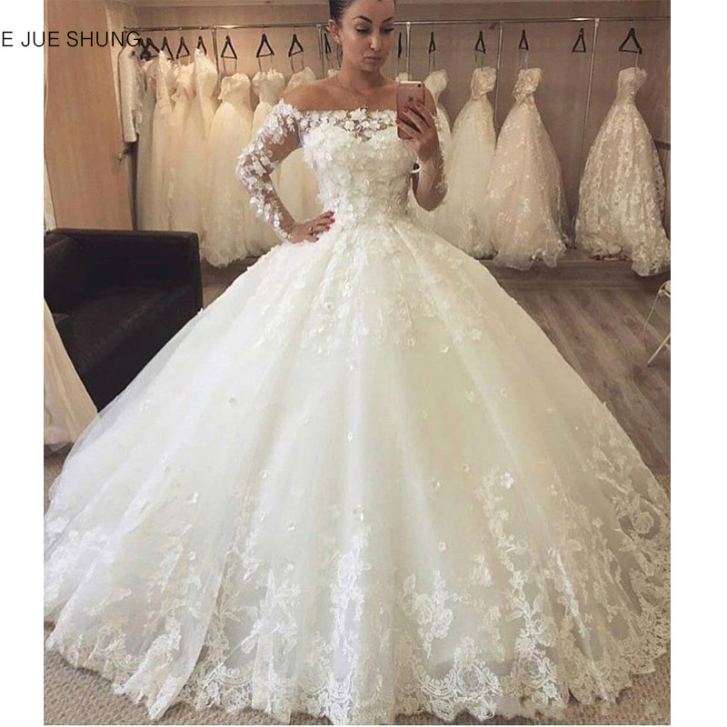 E JUE SHUNG Vintage Lace Luxury Ball Gown Wedding Dresses Off The Shoulder Lace Up Back Long Sleeves Wedding Gowns