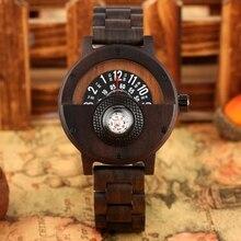 Einzigartige Kompass Plattenspieler Designer Ebenholz Holz Uhr männer Kreative Halbkreis Zifferblatt Uhr Voller Holz Uhr Retro Stunde Luxus Reloj