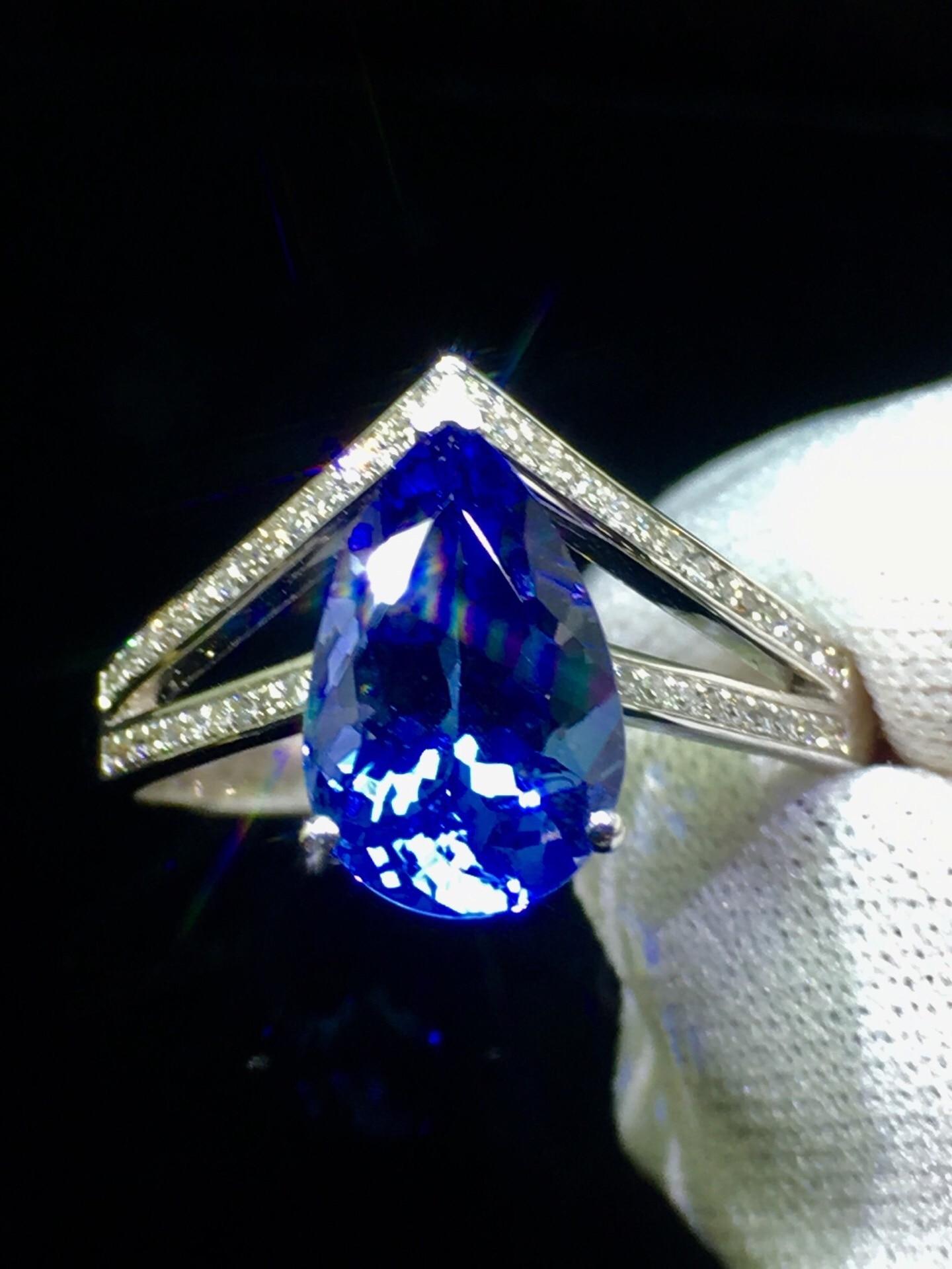 Finr Jewelry 18K White Gold 100% Natural Tanzania Origin Blue Tanzanite Gemstone 2.3ct Female's Ring for Women' Fine Rings