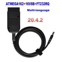 VAG COM 20,4 OBD кабель VCDS HEX V2 USB интерфейс для VW AUDI Skoda Seat VAG 20.4.1 многоязычный ATMEGA162 + 16V8 + FT232RQ