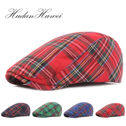 2020 Unisex New Cotton Plaid Berets Cap Flat Ivy Cap Adjustable Newsboy Style Adjustable Mens Womens hats