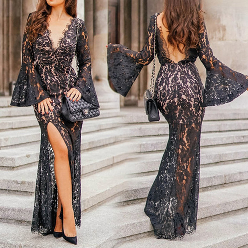 BacklakeGirls 2020 Black Lace Sexy Deep V Neck Long Sleeve Evening Dress Backless Hollow Out Mermaid Women Dress Vestidos Fiesta