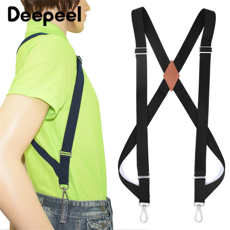 Deepeel 1pc 2.5*125cm Polyester Elastic Webbing Adjustable 2 Sanp Buckle Suspenders Unisex X Type Suit Decorative Straps SP061