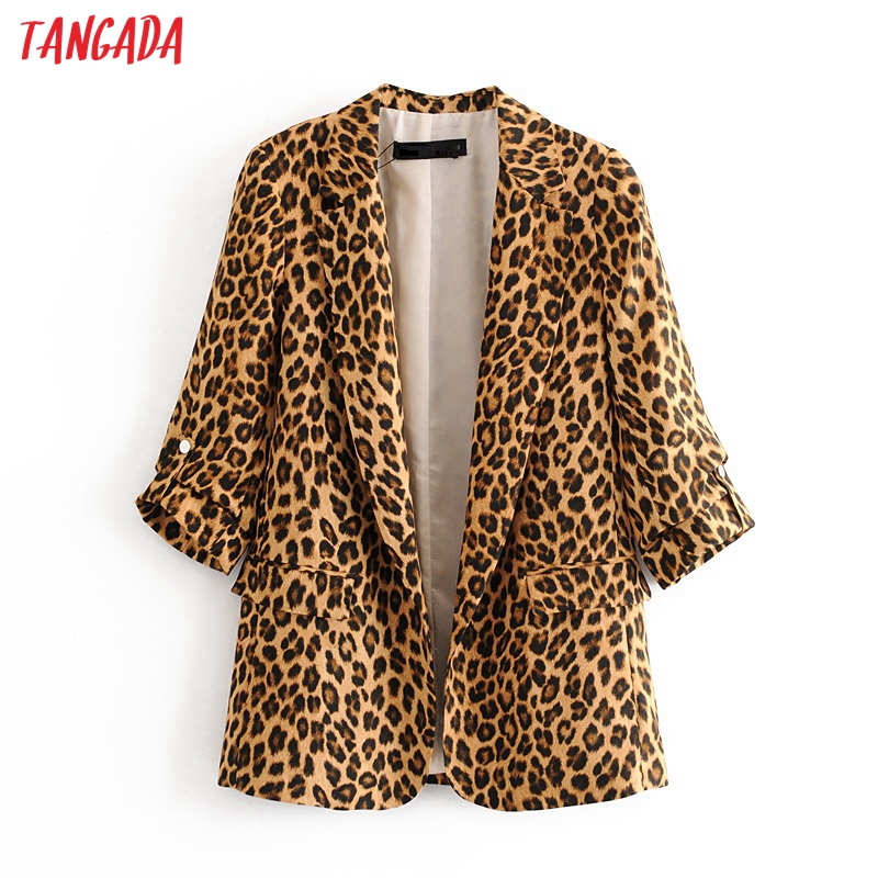 Tangada Korean Style Women Fashion Leopard Print Blazer Pocket Elegant High Street Lady Animal Pattern Blazer Suit 3H376