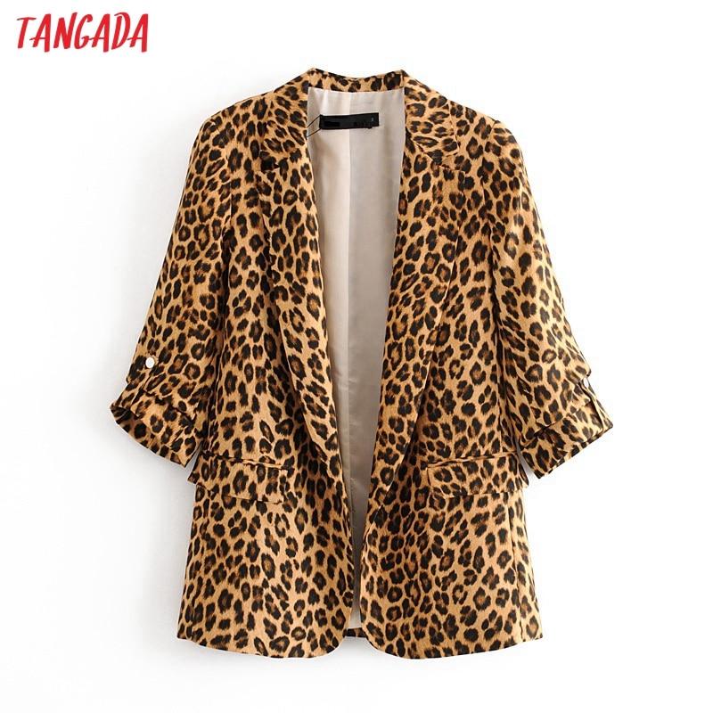 Tangada Korean Style Women Fashion Leopard Print Blazer Pocket Elegant High Street Lady Animal Pattern Blazer Suit 3H376