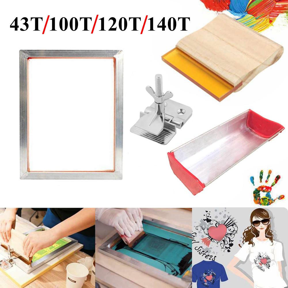 4PCS Screen Printing Kit 43/120T Silkscreen Mesh Aluminum Frame + Hinge Clamp + Emulsion Scoop Coater + Squeegee Tool Parts Set