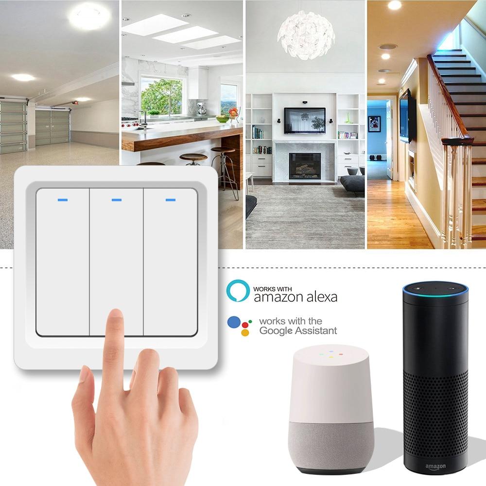 1 2 3 Gang 2 way  WiFi smart switch AC 85v 220v wall Light Switch,EU Standard wireless smart home switch Working Google Amazon