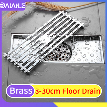 Floor Drain Cover Brass Linear Floor Drains Large Tile Insert Channel Bathroom Shower Drainer Cover Anti-odor Floor Waste Grates frap high quality floor drain 20 8 2 cm euro antique brass floor drains cover shower waste drainer bath accessories y38072