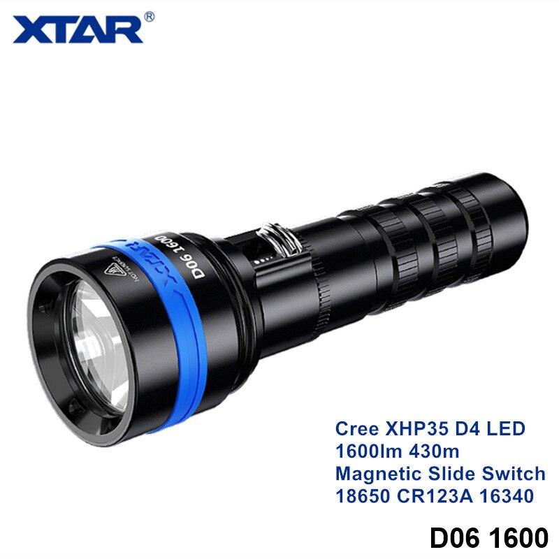 Магнитный скользящий переключатель Xtar D06 для подводной фотографии фонарик для дайвинга Cree XHP35 XPL XML 18650 16340 CR123 Подводный фонарь