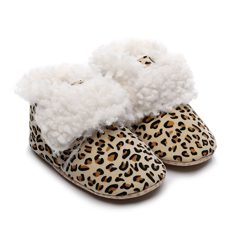 Fashion Leopard Baby Shoes Winter Warm Newborn Baby Boys Girls Shoes Infant Toddler Soft Bottom First Walkers Shoes
