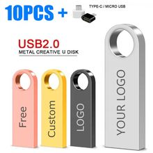 Metal USB Flash Drive Pen Drive 4GB 8GB 16GB Pendrive 32GB 64GB Memory Stick memoria U-Disk cle usb stick gift free customized