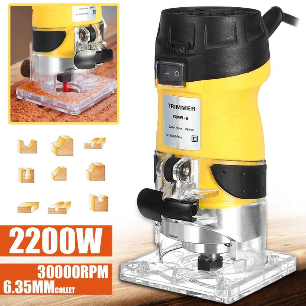 2200W Elétrica Trimmer Mão Madeira Router 6.35 milímetros Carpintaria Laminador Carpintaria Corte Carving Máquina De Corte Ferramenta De Poder Definir