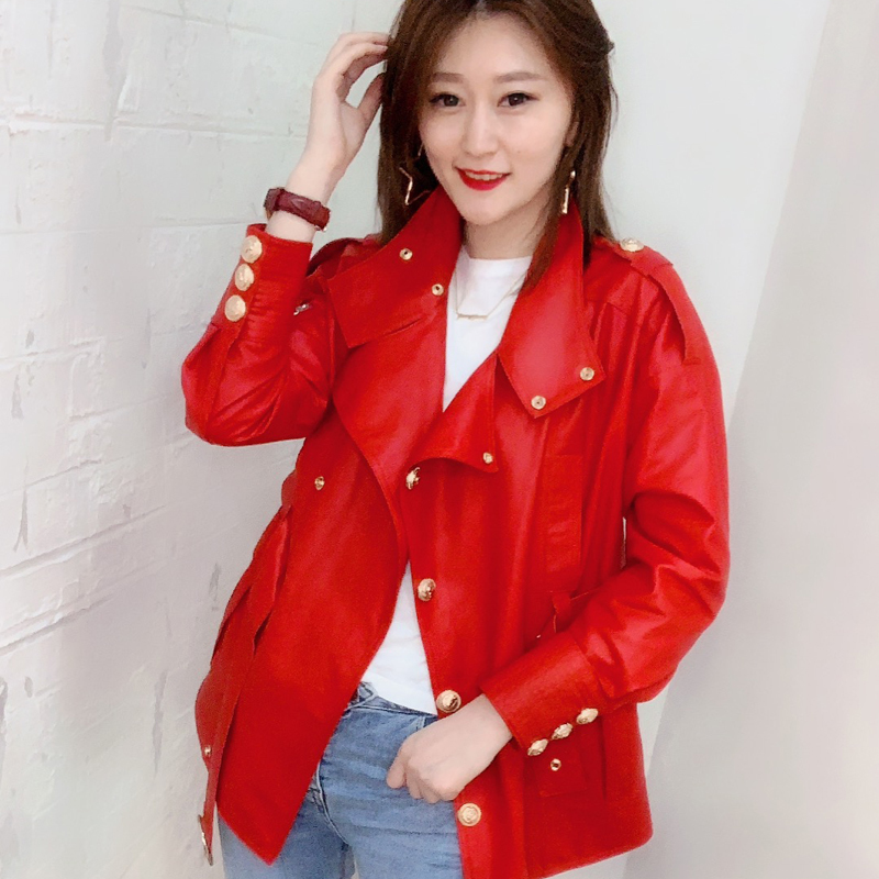 2020 New Women's Short Leather Jacket Leather Jacket Long Sleeve Women Genuine Leather Jacket  Genuine Leather Jacket Women