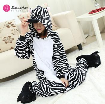 Zebra kostiumy Onesies kostium na Halloween dla kobiet cartoon zwierząt casual piżamy dres piżamy z kapturem dla dorosłych Party dress tanie i dobre opinie CN (pochodzenie) Majtki Trencz Film i TELEWIZJA WOMEN Zestawy POLIESTER Other Japonia i Korea południowa Newest White+Black