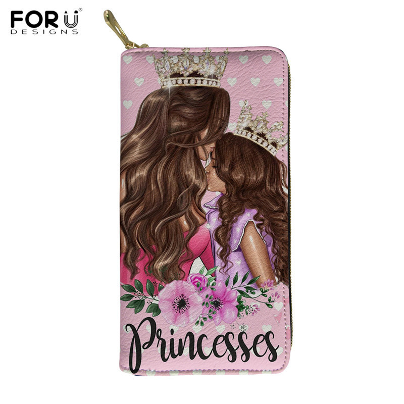 FORUDESIGNS Cute Super Mama Print Wallet For Women Luxury Mom Princess PU Purses Waterproof Travel Money Bag Card Holder Cases