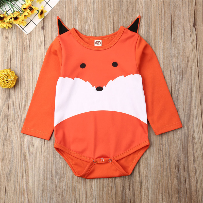 0-18 Months Newborn Baby Bodysuit Long Sleeve Fox Head Jumpsuits Girls Clothes 2020 Summer Orange Patchwork Baby Girls Jumpsuits