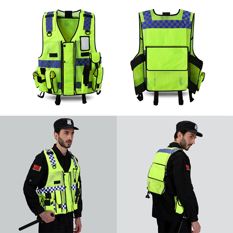Multi Pocket Reflective Vest High Visibility Breathable Safety Gear Outdoor Protector Tank Top Construction Traffic Outer Wear