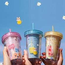 320ml Portable Paille Tasse Avec Couvercle Tasses Réutilisables En Plastique Gobelet Froid Tasse À Café Cadeau De Fête De Noël Soutien Livraison Directe