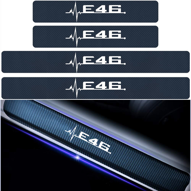 4pcs/lot For <font><b>BMW</b></font> E46 E60 E39 E36 Emblem Car Accessories Car Personality Door Threshold Guard Sill Plate Anti-friction <font><b>Stickers</b></font> image