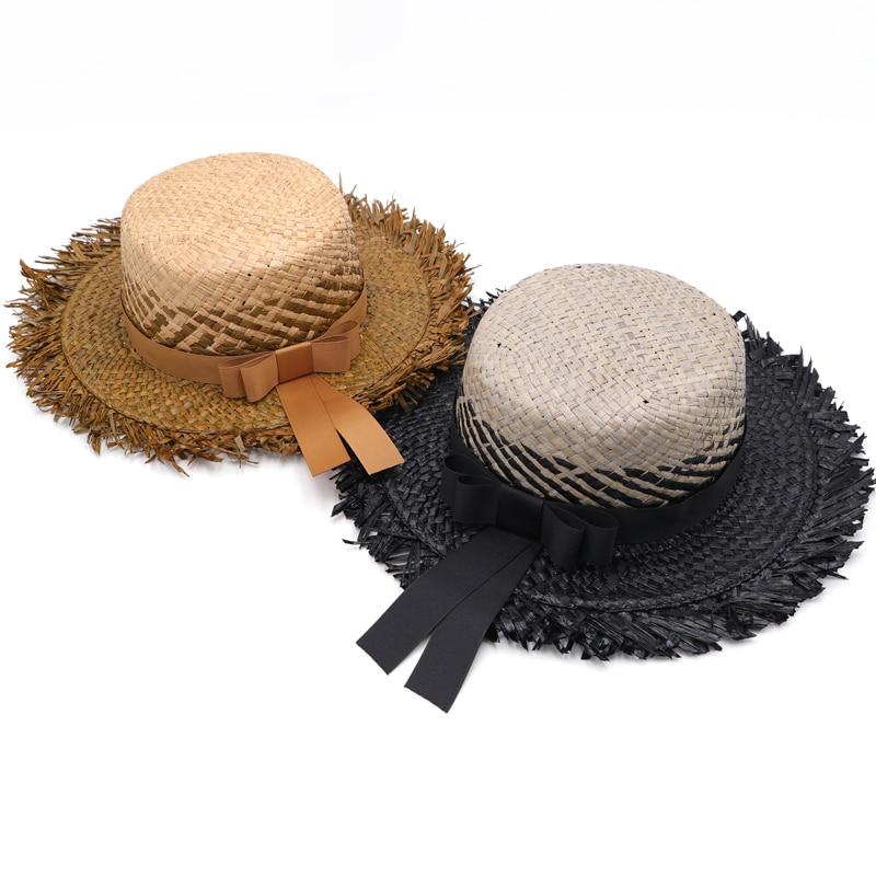 Womens Wide Brim Sun Hat With Wind Lanyard UPF Summer Straw Sun Hats For Women